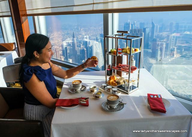 fancy breakfast in Atmosphere Burj Khalifa