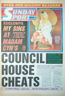 Melynda York on the front page of a old Sunday Sport newspaper from February 1987