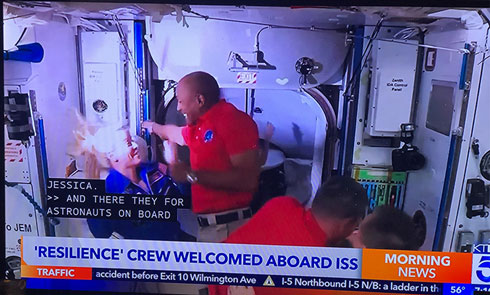 KTLA 5 TV shows Dragon 'Resilience' Crew Welcomed on board ISS (Source: Palmia Observatory)