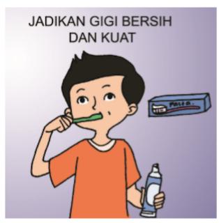 Kesimpulan informasi penting dari gambar diatas adalah, bahwa dengan menggosok gigi menggunakan pasta gigi secara teratur menjadikan gigi tetap bersih dan kuat