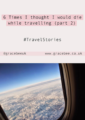 "Pinterest image showing a photograph of an airplane window. Below text reads ""6 times I thought I would die while travelling"""