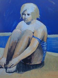 Untitled (girl on the beach) Pauline Boty painting 1958/9