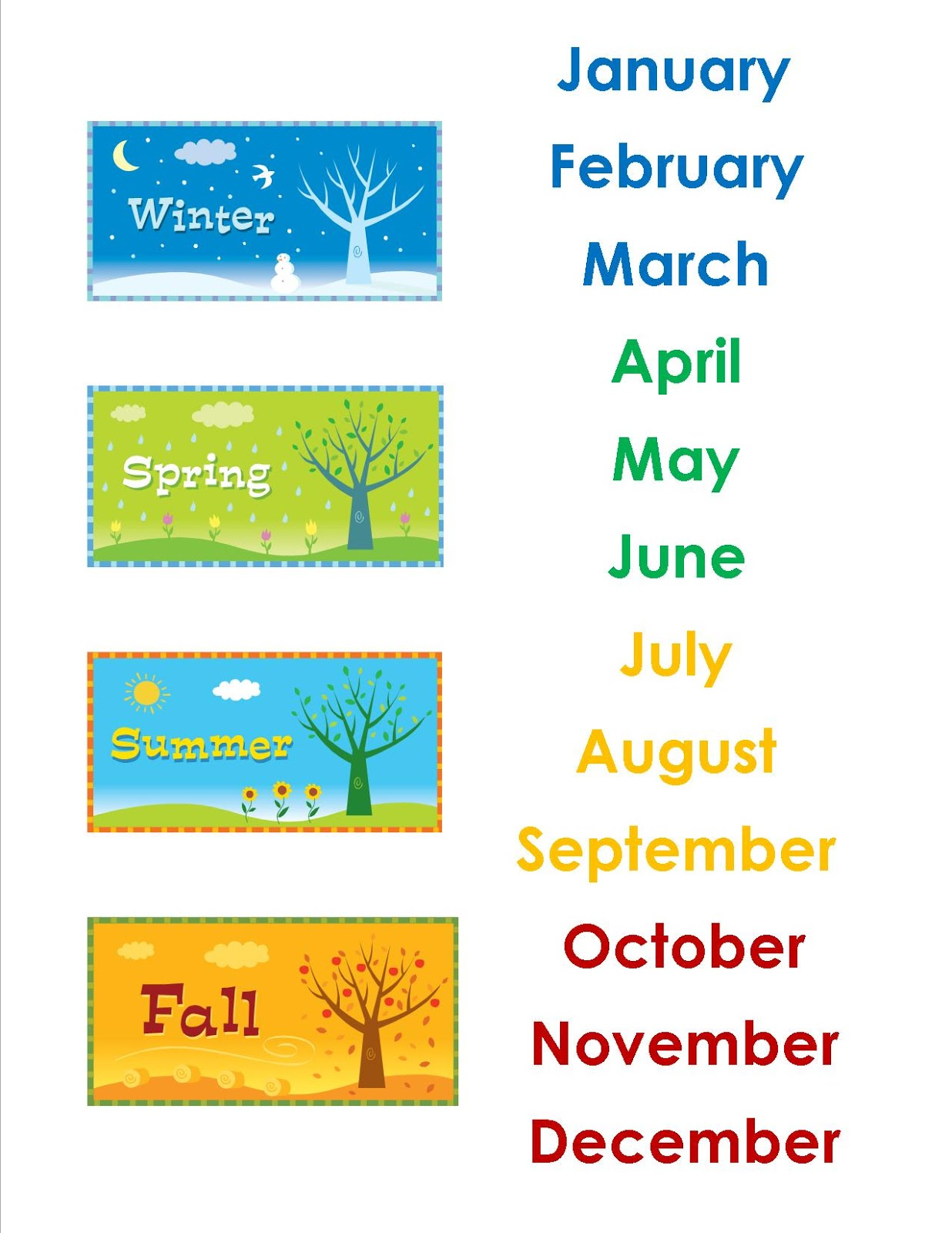 The Idea Cubby The Calendar Months
