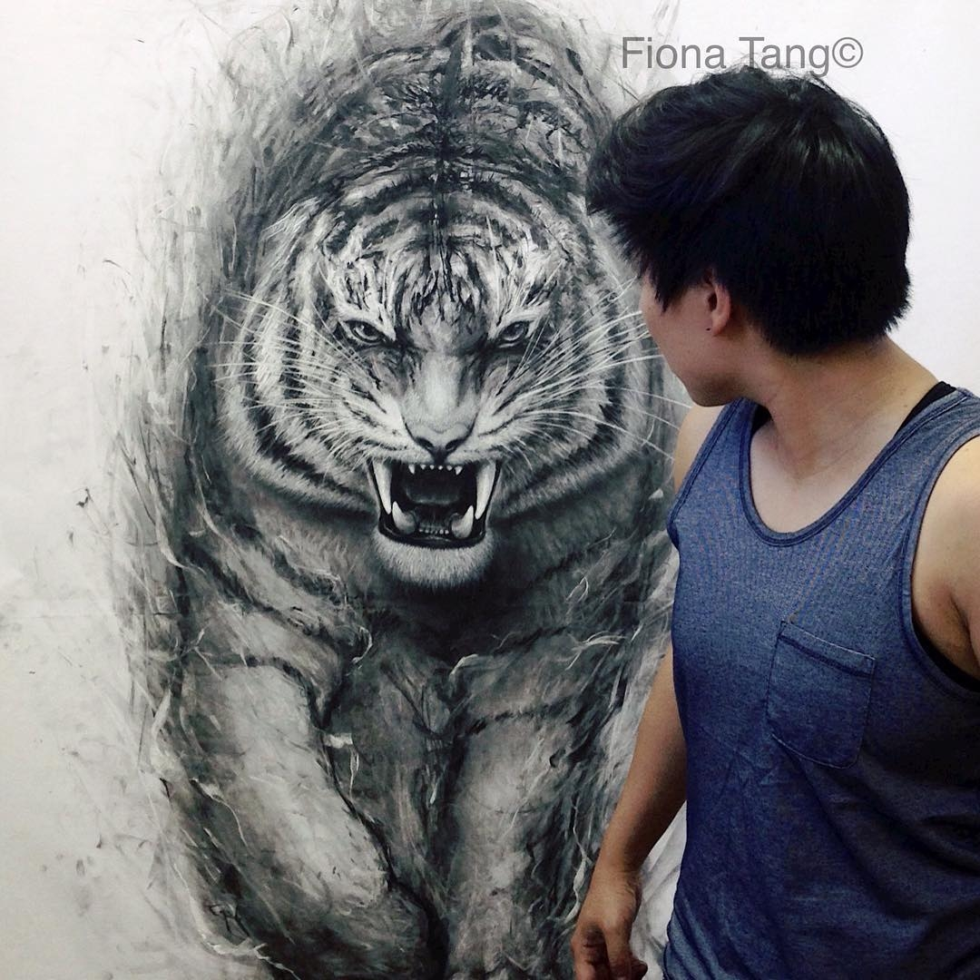 03-Tiger-Fiona-Tang-2D-Sketches-that-Become-3D-Animals-www-designstack-co