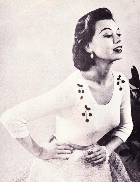 The Vintage Pattern Files: Free 1950's Knitting Pattern - Cherry Trimmed Sweater