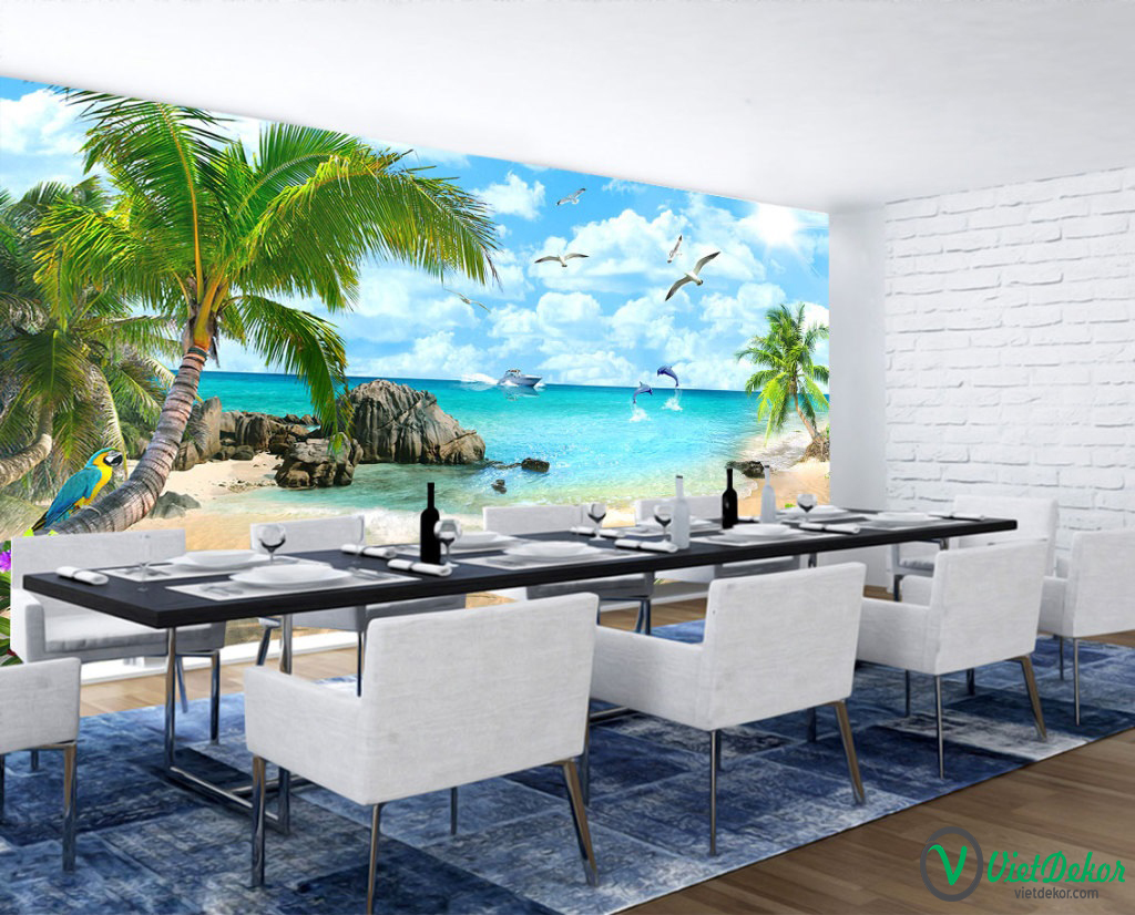 Tranh dán tường 3d phong cảnh biển cá heo thuận buồm xuôi gió