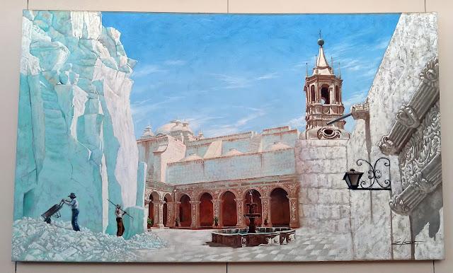 Pintura al óleo de Arequipa y sus canteras de sillar con la catedral de fondo