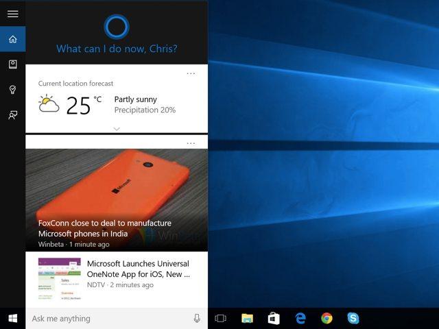 Tampilan Fitur Cortana