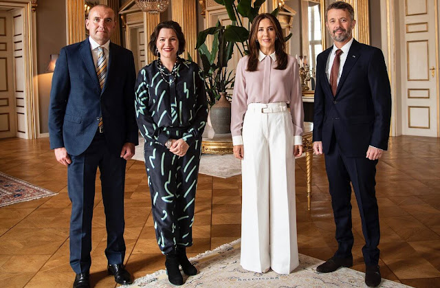 Crown Princess Mary wore high-waisted wide-leg trousers by Proenza Schouler. Sophie Bille Brahe Boucle gold diamond earrings