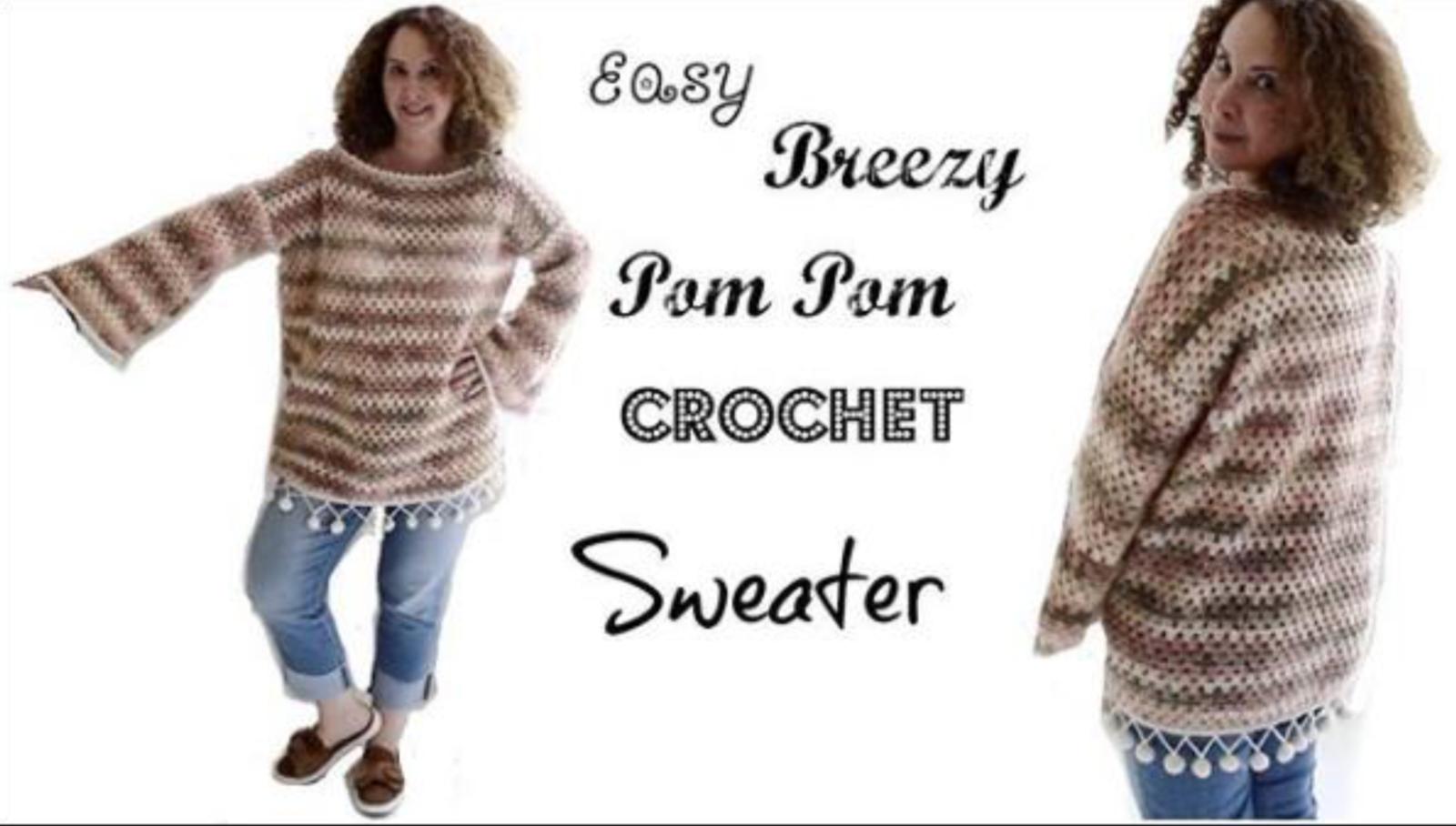 641f48826e169 Easy Breezy Pom Pom Crochet Sweater. By  Annoo Crochet Designs