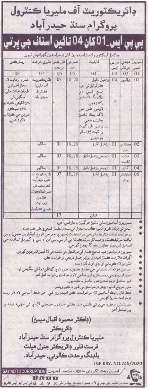 Directorate of Malaria Control Program Sindh Hyderabad jobs 2020