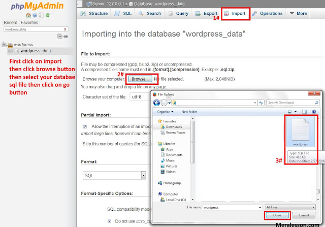 Upload your database and WordPress