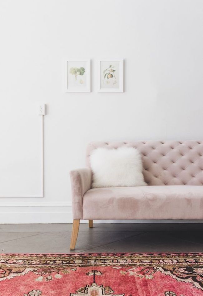 divano velluto rosa