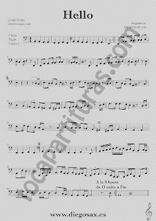Partitura de Hello para Violonchelo, Fagot y Corno Inglés Lionel Richie  Sheet Music Cello, Basson and English Horn Music Score Hello