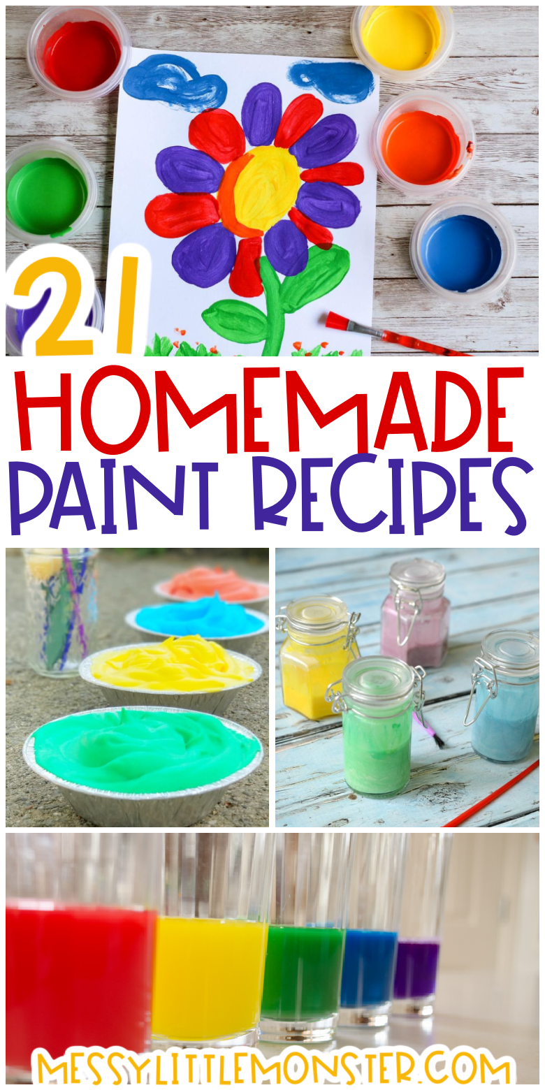Homemade paint recipes. Homemade paint for kids.