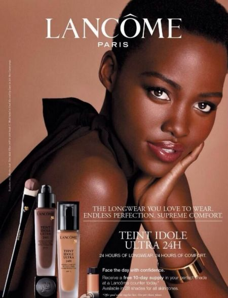 Lupita Nyongo in her first Lancome advertisement