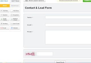 Tampilan default contatc form