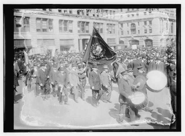 Members of the Brotherhood of Carpenters and Joiners of America, marching in a May Day parade in New York City (May 1, 1914) Photograph by George Grantham Bain