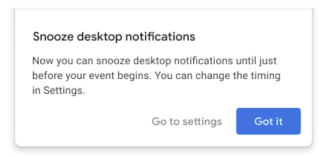 Snooze Google Calendar desktop notifications 2