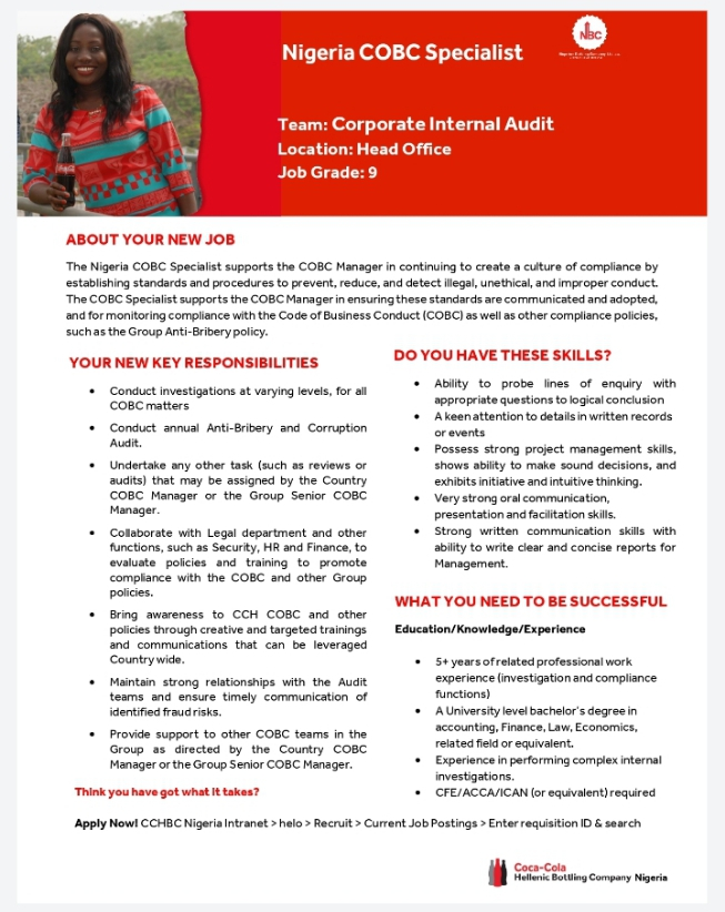 COCA-COLA VACANCY:  Apply for Coca Cola Recruitment 2021 Job Vacancies & Application Form