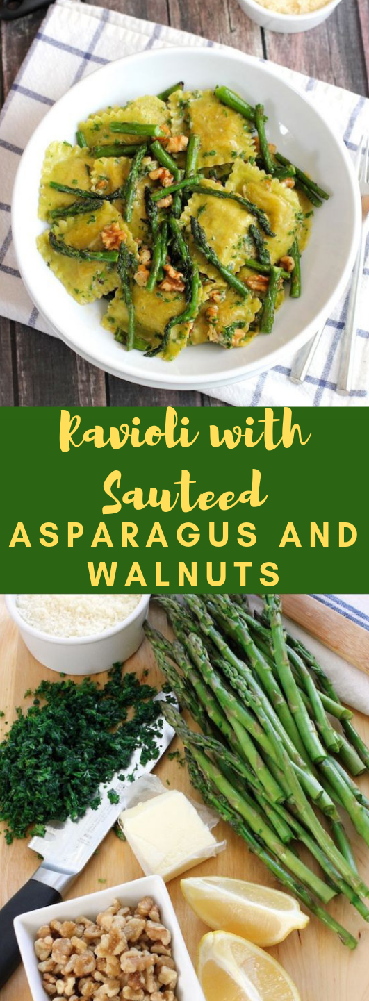 Ravioli with sauteed asparagus and walnuts #vegetarian #asparagus #cauliflower #mushroom