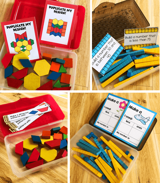 Create morning tub kits with plastic pencil boxes and math manipulatives.  Each kit has a case of manipulatives and task cards that can be switched out as necessary.