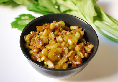 Salade foies de volaille céleri caramélisé