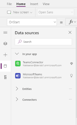Data Sources - Custom connector to get office 365 groups and Microsoft Teams default OOB connector to get teams user is member of