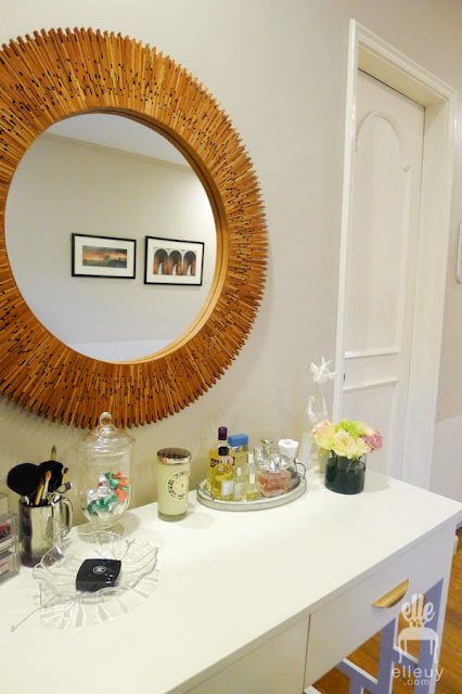sunburst wood mirror vanity area