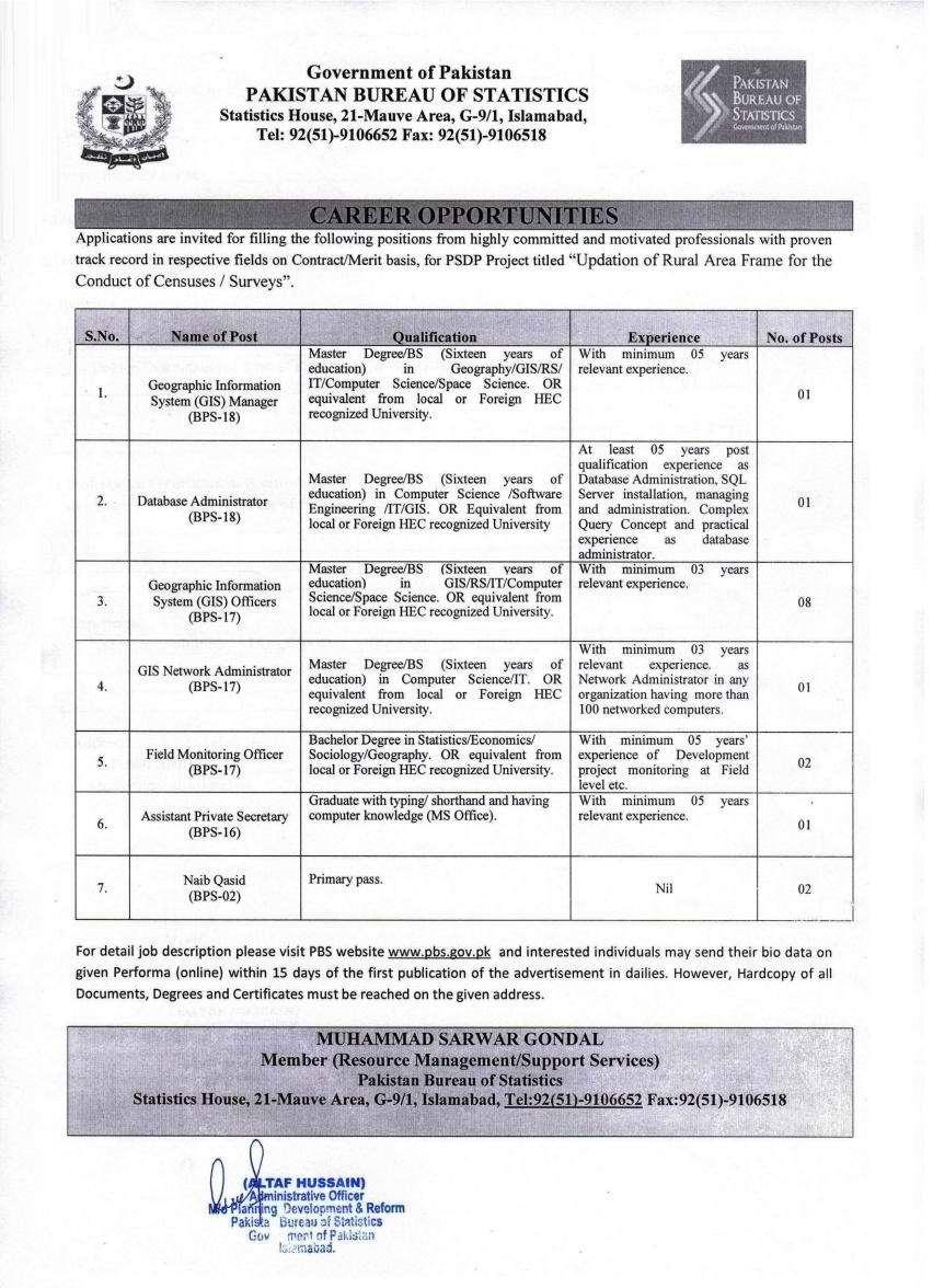 Pakistan Bureau of Statistics Management Jobs 2020