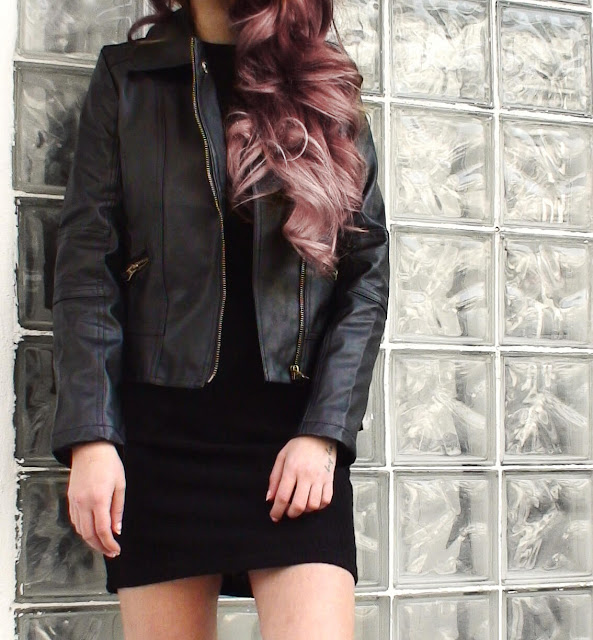 leather jacket pink hair