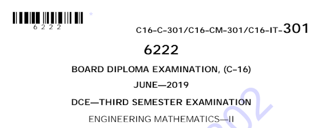 Diploma Previous Question Paper c16 civil 301 Engineering Mathematics-2 June 2019