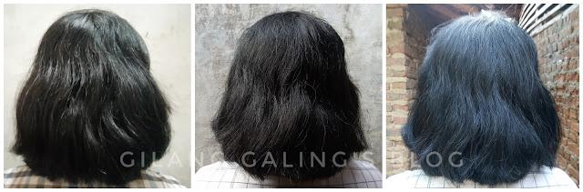 hasil akhir di cat rambut pakai NYU