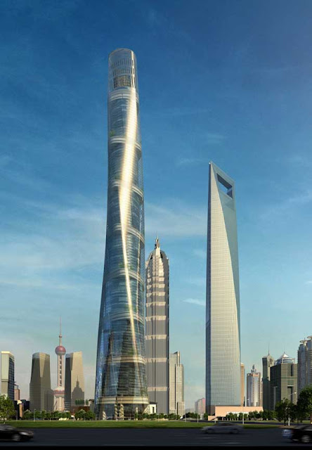 Shanghai Tower with Jin Mao Tower And World Financial Centre