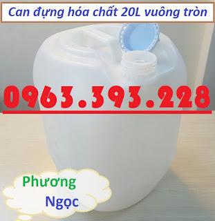 Can nhựa đựng hóa chất, can nhựa HDPE 20L, can nhựa vuông tròn màu trắng 4ca2f76cb001575f0e10