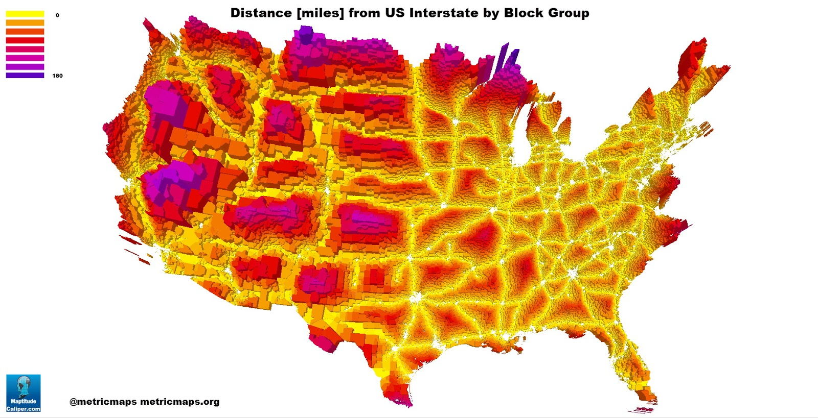 Distance from U.S. interstate by block group