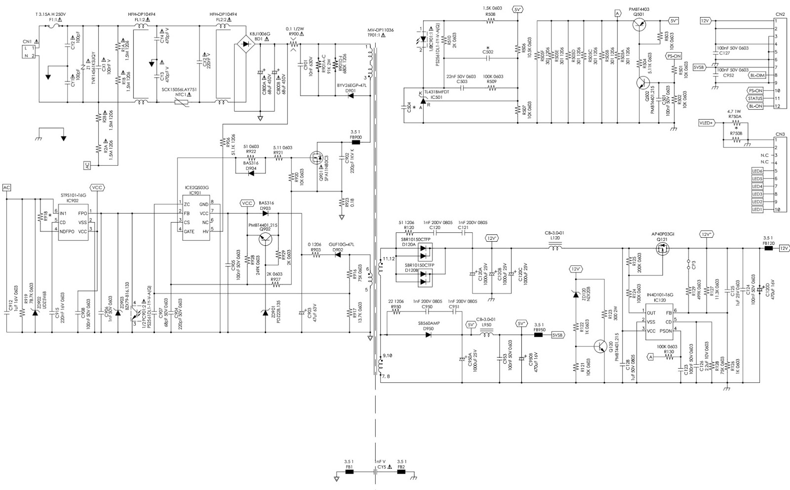 LCD TV SMPS schematic - Delta DPS 77PA | electrotricks