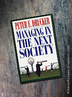 "Beauty shot picture of book by Peter Drucker, ""Managing in the Next Society"""