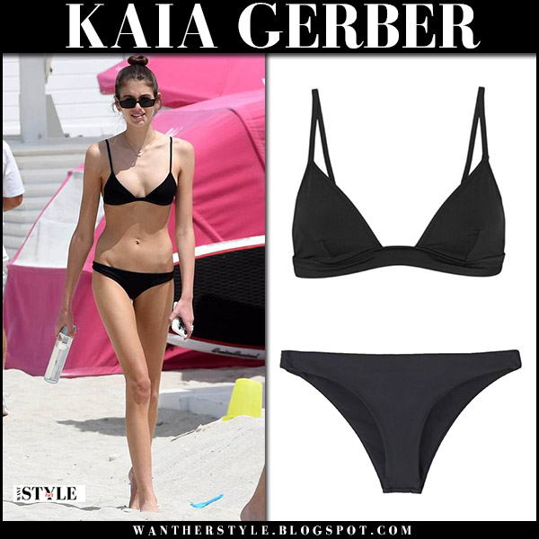 Kaia Gerber in black bikini on the beach model summer style march 31
