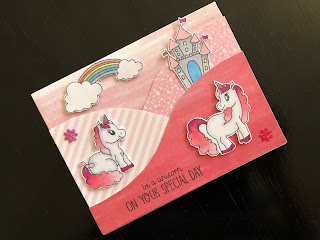 Pink unicorn foldout card