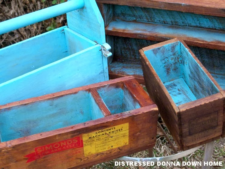 turquoise, tool boxes, crates, distressed painting, tung oil