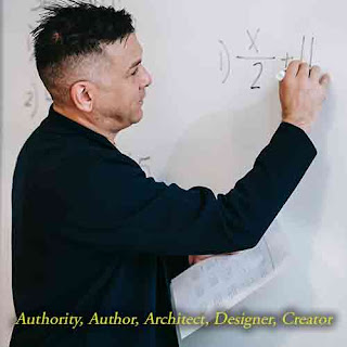 man with short haircut writing an algebra equation on white board while holding a paper