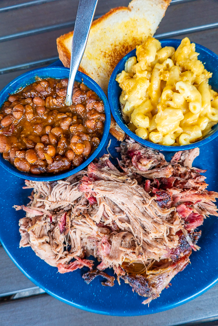 pulled pork platter with baked beans and mac and cheese - MOJO Old City BBQ - St Augustine, FL