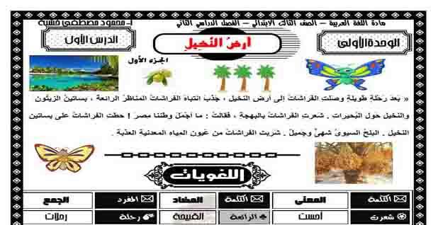 تحميل مذكرة لغة عربية للصف الثالث الابتدائي الترم الثانى