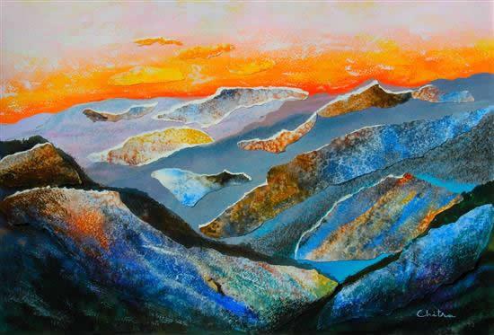 Kumaon Mountains - 1, painting by Chitra Vaidya ( www.indiaart.com )