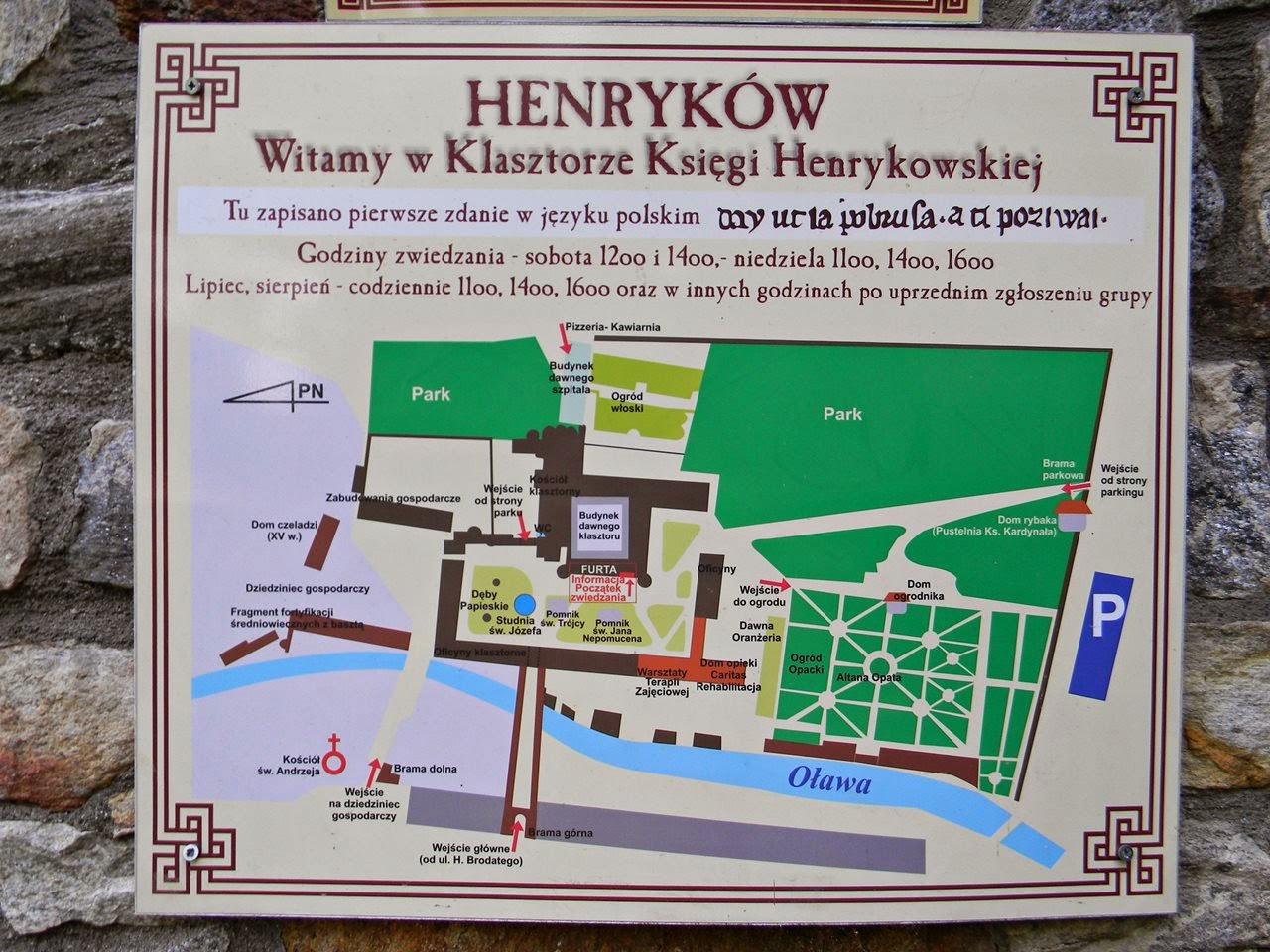 tablica, godziny otwarcia, Henryków, kościół, plan