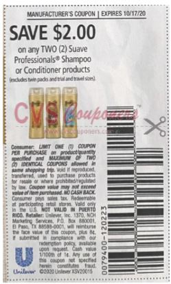 "$2.00/2 Suave Professionals Shampoo or Conditioner Products Coupon from ""RetailMeNot"" insert week of 10/04/20."