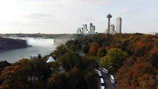 Buildings Rise Up Beside Niagara Falls.
