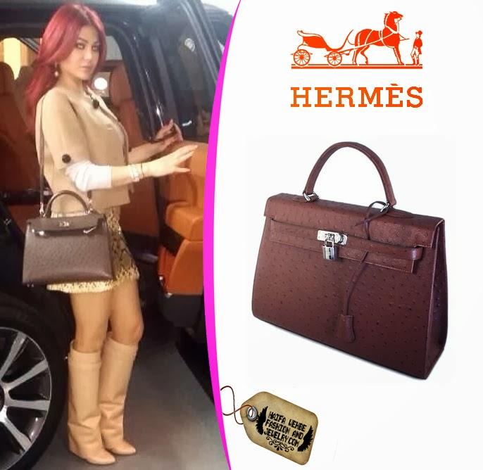 Haifa wehbe wearing Hermes Ostrich Kelly bag. Haifa Wehbe carried this brown  ... 2e7ee1afe4fb5