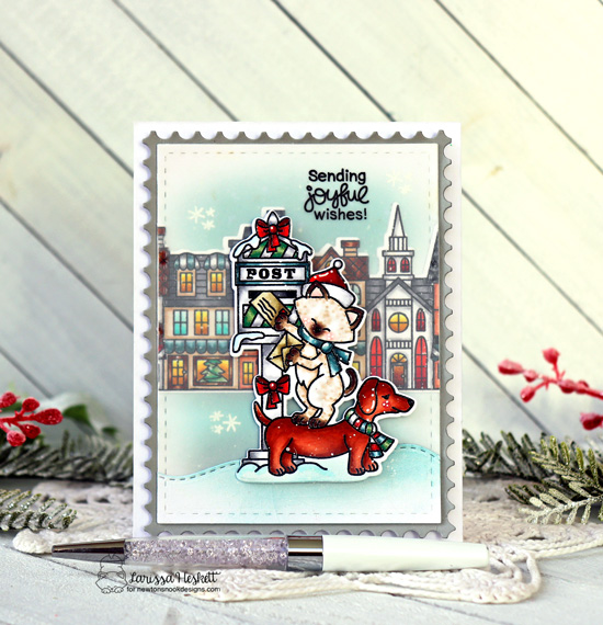Cat and Dog mailing holiday letters card by Larissa Heskett | Holiday Post Stamp Set, Main Street Christmas Stamp Set, Land Borders Die Set and Framework Die Set by Newton's Nook Designs #newtonsnook #handmade